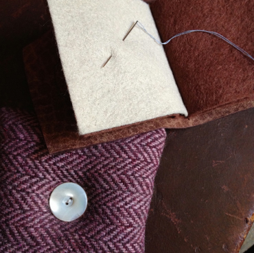 Pink Wool and Leather Pincushion and Needlebook set
