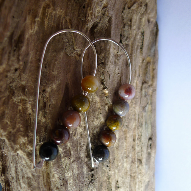 Sterling Silver and Fossilised Wood Long Earrings