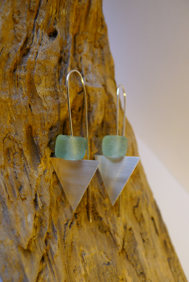 Sterling Silver & Recycled Glass Triangle Long Drop Earrings