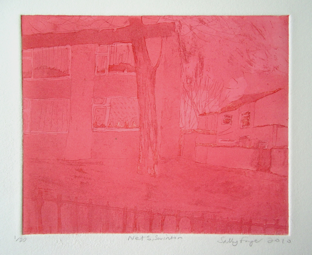Nets, Salford. Colour etching with aquatint