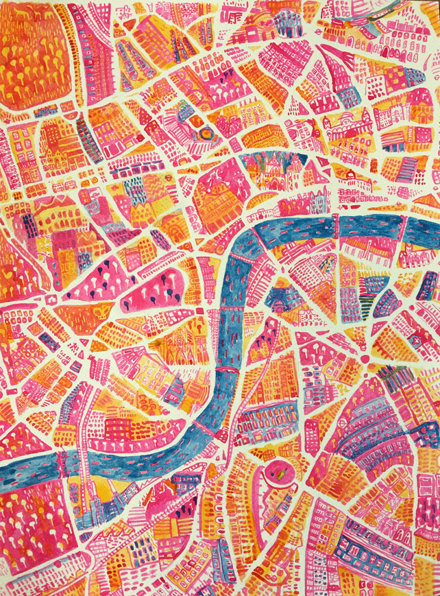 Map of London, Original Ink Painting on Paper