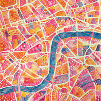 SALE 20% OFF! Map of London, Original Ink Painting on Paper
