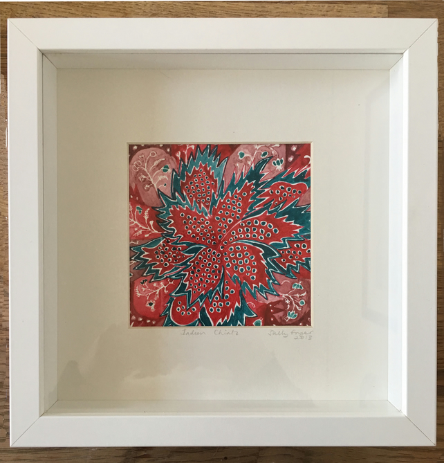 Indian Chintz -  Original watercolour painting, framed.