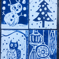 Original Woodcut Handprinted Christmas Cards- set of 4 Hand Made