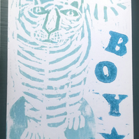 Original Woodcut Handprinted Baby Boy Card