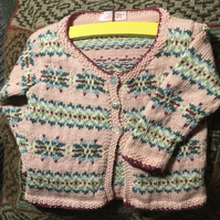 Handknitted Young Girl Fairisle Cardigan