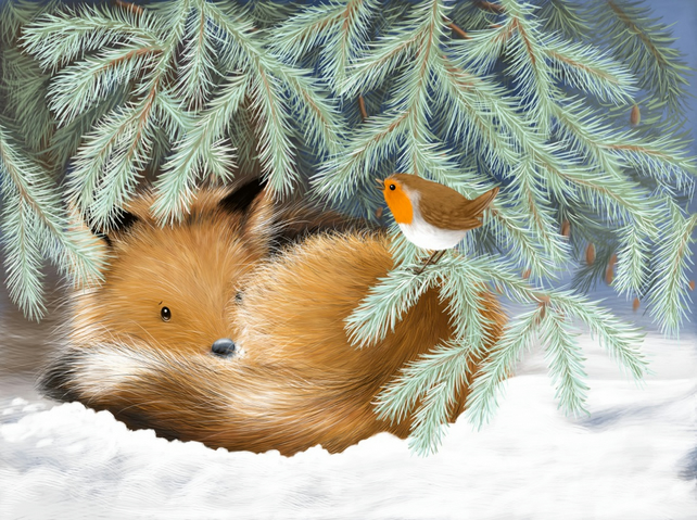 Pack of 5 Fox Cub and Robin Christmas Cards