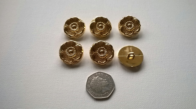 Gold colour buttons 24mm