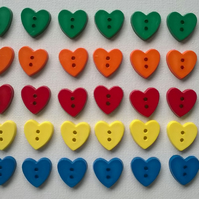 Heart shaped buttons x6