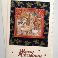 Religious Christmas card in fabric 461