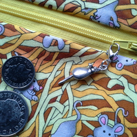 Mouse and Cheese string  wrap around coin purse 527