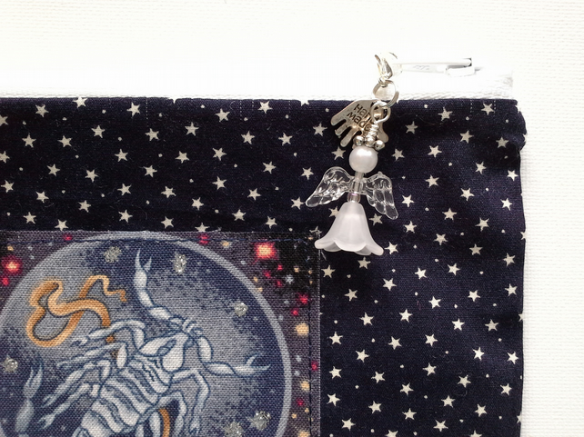 Scorpio Zodiac Make Up Bag with Guardian Angel charm 191A
