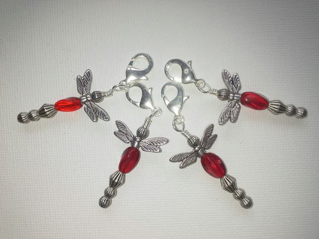 Red dragonfly charms for bags, zips or stitch markers