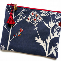 Grey and Red Make up bag  60B