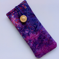 Purple Batik glasses case 148B