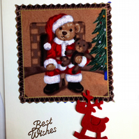 Teddy bear christmas card in fabric 236B