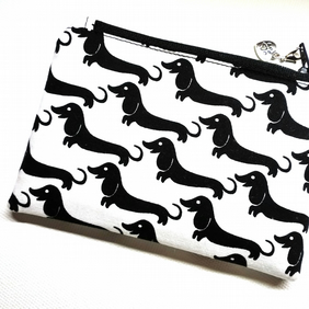 Dachshund coin purse in black and white 387B