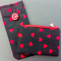 Little hearts glasses and coin purse set 140C