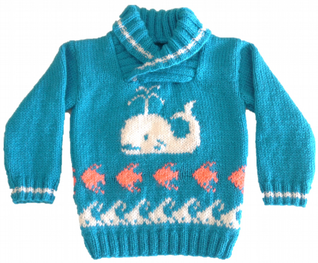 Knitting Pattern for Whale, Fish and Waves Jumper