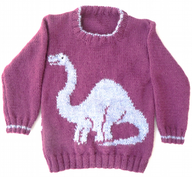 Jumper Patterns Knitting : Dinosaur Jumper Knitting Pattern - Folksy