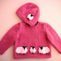 Baby Knitting Pattern for Jumper and matching hat with Sheep