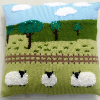 Knitting Pattern for Sheep in the Countryside Cushion