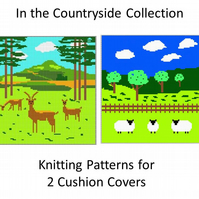 2 Knitting Patterns for Cushion Covers - Sheep and Deer in the Countryside