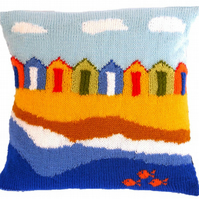 Knitting Pattern for Beach Huts Cushion