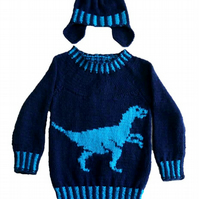 Knitting Pattern Dinosaur Sweater and Hat (Velociraptor)