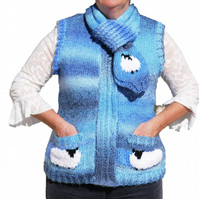 Knitting Pattern Ladies Sheep Waistcoat and Scarf