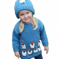 Christmas Sheep Sweater and Hat Knitting Pattern