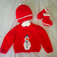 Christmas Baby Sweater, Hat and Bootees Knitting Pattern