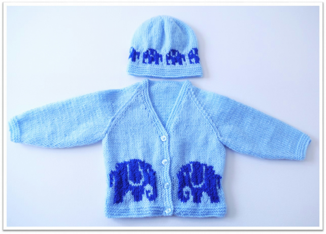 Baby Knitting Pattern for Jacket and matching Hat with Elephants