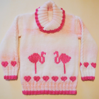 Hearts and Flamingos Sweater Knitting Pattern