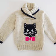 Knitting Pattern Cat and Mice Jumper