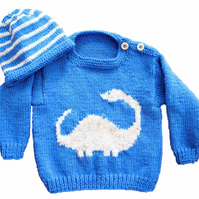 Knitting Pattern Dinosaur Sweater and Hat (Diplodocus)