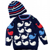Knitting Pattern Whale Baby Sweater and Hat