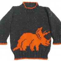 Knitting Pattern Dinosaur Sweater and Hat (Triceraptops)