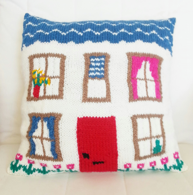 Knitting Pattern for Pretty House Cushion