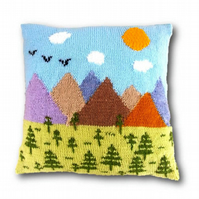 Knitting Pattern for Trees and Mountains Cushion