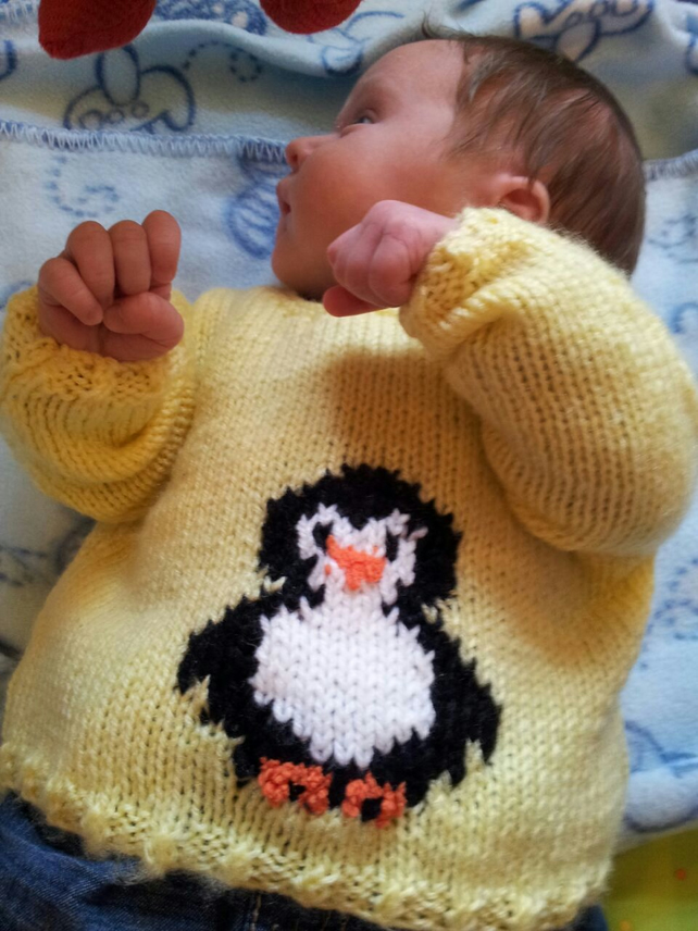 Knitting Pattern Baby Penguin Jumper, Hat and Bootees