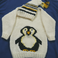 Knitting Pattern Child's Penguin Jumper and Hat