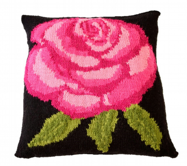 Knitting Pattern for Rose Cushion