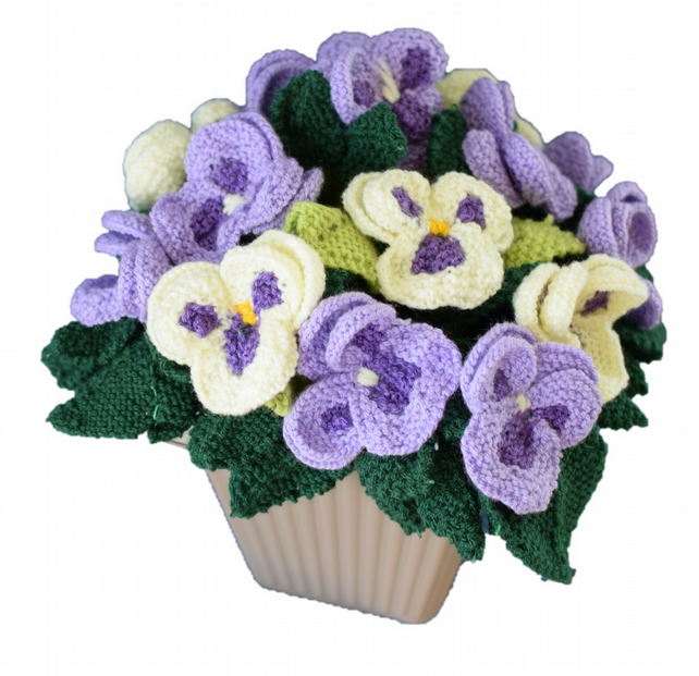 Knitting Pattern For The Pansy Pot Folksy