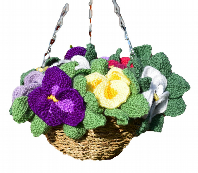 Knitting Pattern for Pansy Hanging Basket