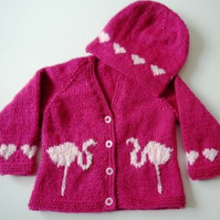 Baby Knitting Pattern for Jacket and matching Hat with Flamingos and Hearts