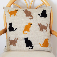 Knitting Pattern for 9 Cats Cushion