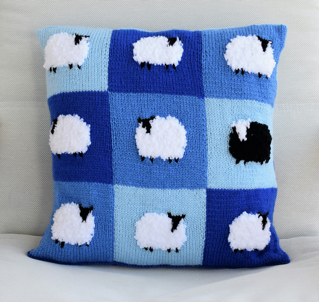 Knitting Pattern for Patchwork Sheep Pillow