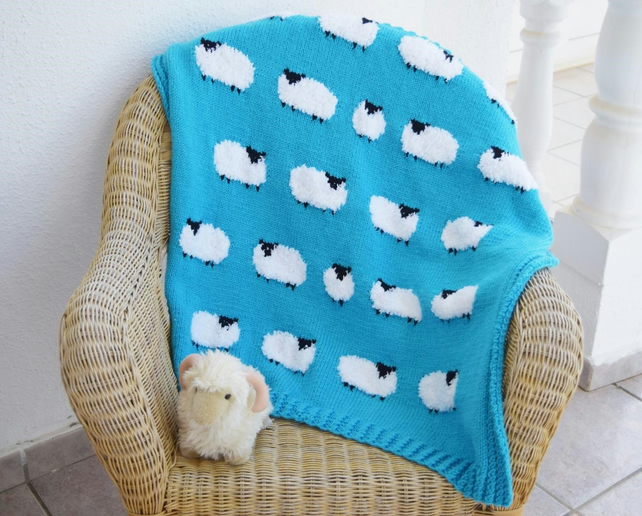 Knitting Pattern for Flock of Sheep Blanket