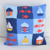 Knitting Pattern for At the Seaside Cushion